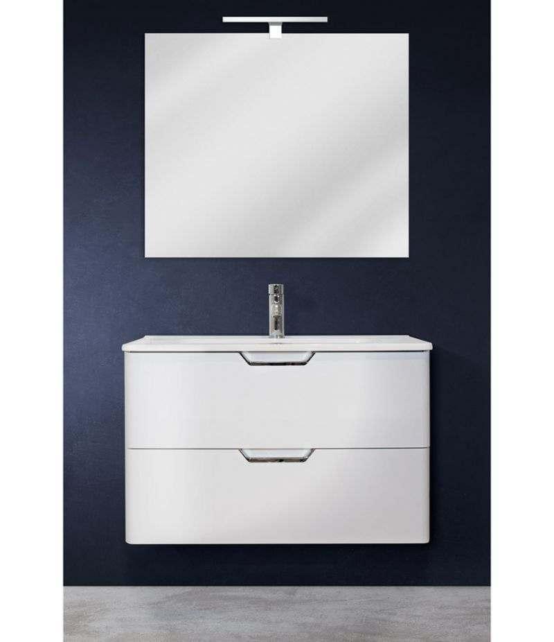 Mobile bagno sospeso 80 cm Bianco Lucido con doppio cassetto, specchio, LED e lavabo
