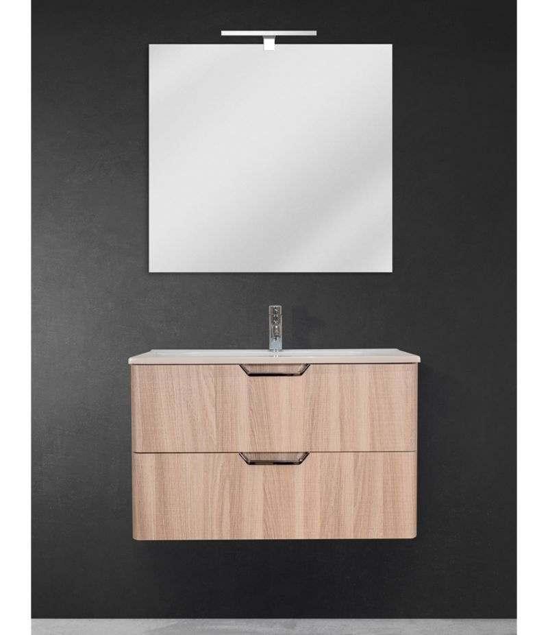 Mobile bagno sospeso 80 cm Rovere Naturale con doppio cassetto, specchio, LED e lavabo