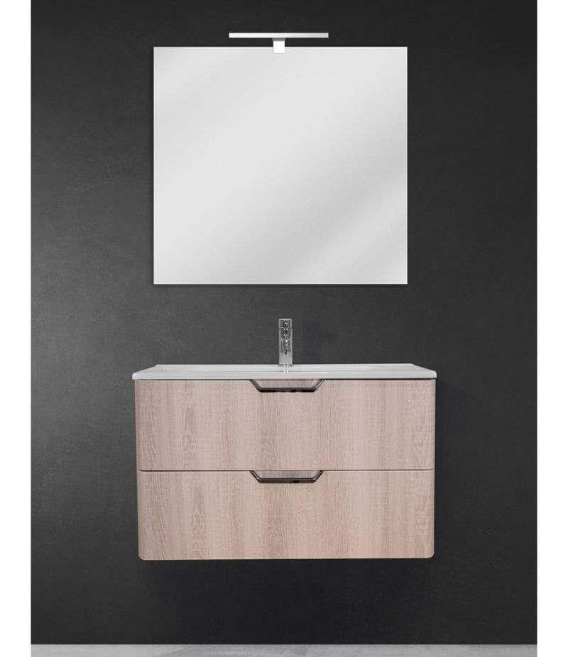 Mobile bagno sospeso 80 cm Rovere Sbiancato con doppio cassetto, specchio, LED e lavabo