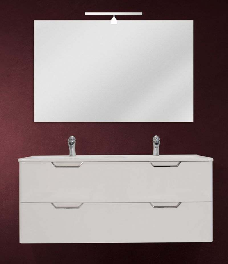 Mobile bagno sospeso 120 cm Bianco Lucido con doppio cassetto, specchio, LED e lavabo