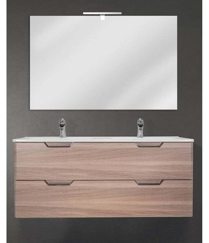 Mobile bagno sospeso 120 cm Rovere Naturale con doppio cassetto, specchio, LED e lavabo