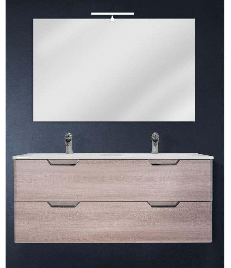 Mobile bagno sospeso 120 cm Rovere Sbiancato con doppio cassetto, specchio, LED e lavabo