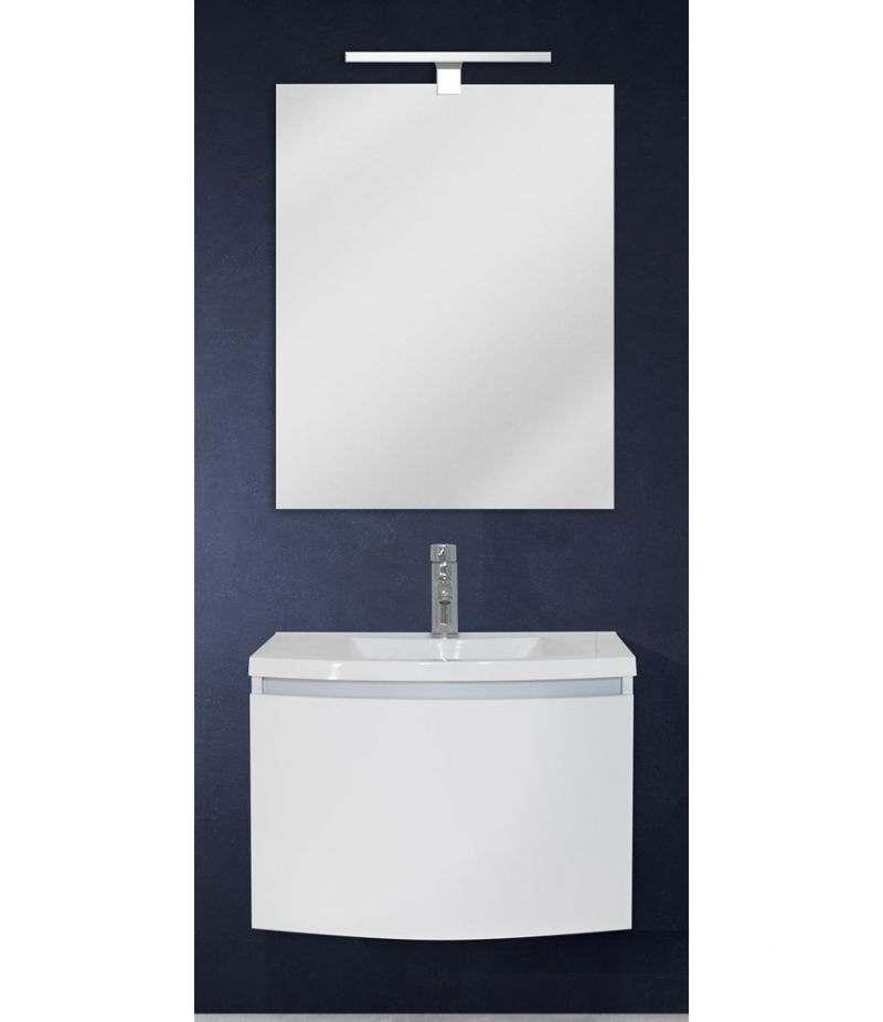 Mobile bagno sospeso 60 cm Bianco Laccato Opaco con specchio, LED e lavabo