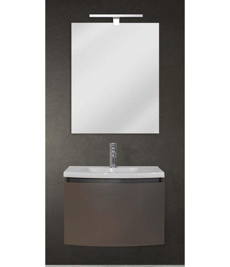Mobile bagno sospeso 60 cm Grigio Laccato Opaco con specchio, LED e lavabo