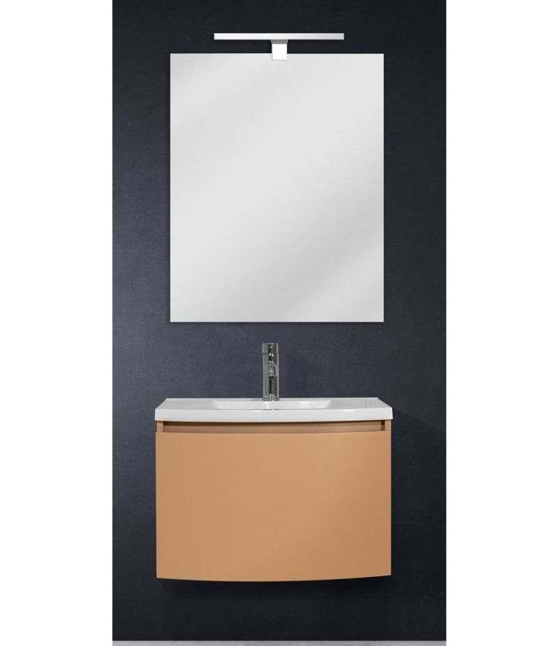 Mobile bagno sospeso 60 cm Tortora Laccato Opaco con specchio, LED e lavabo