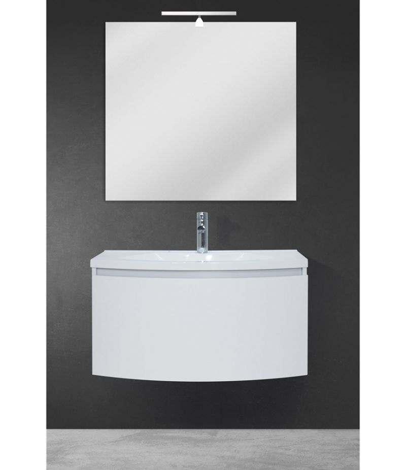 Mobile bagno sospeso 80 cm Bianco Laccato Opaco con specchio, LED e lavabo