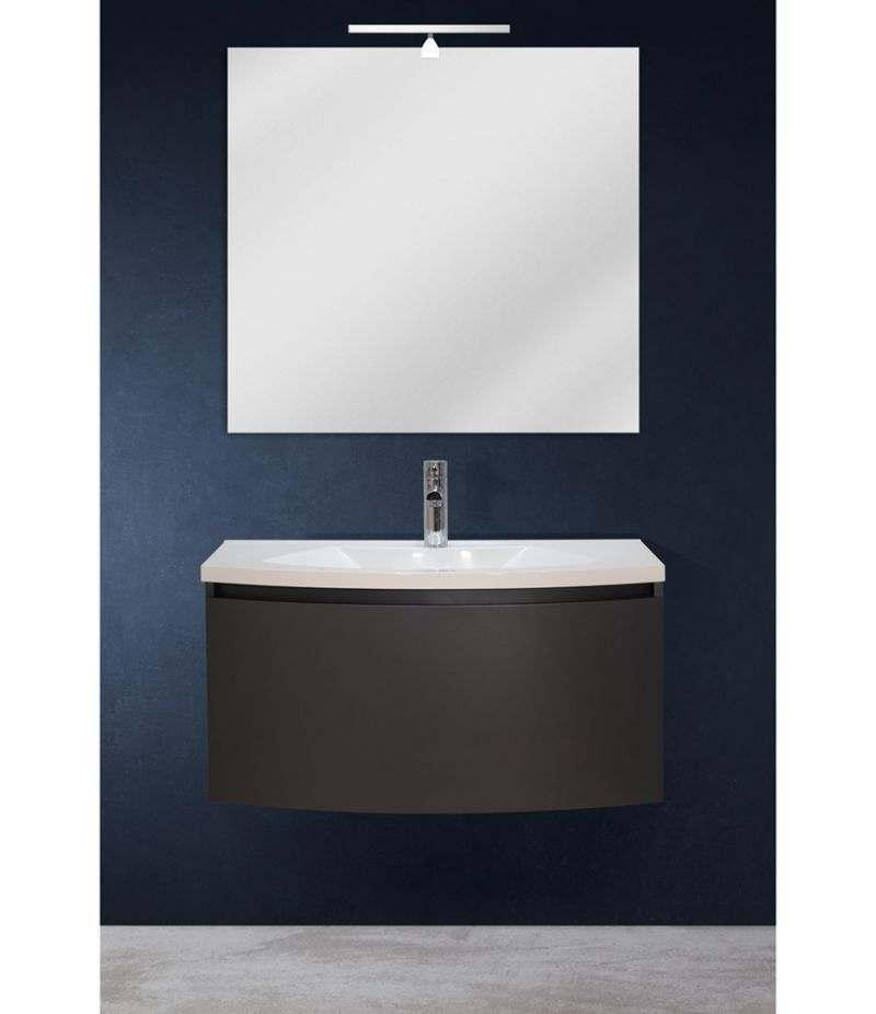 Mobile bagno sospeso 80 cm Grigio Laccato Opaco con specchio, LED e lavabo