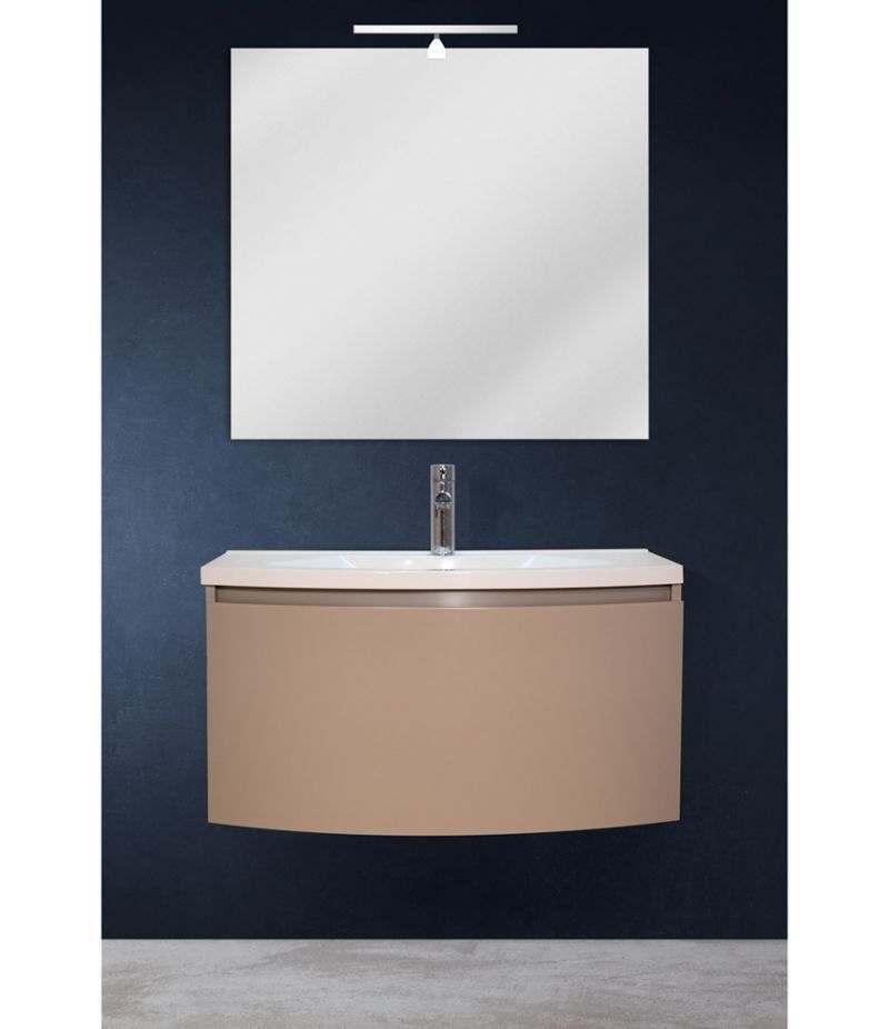 Mobile bagno sospeso 80 cm Tortora Laccato Opaco con specchio, LED e lavabo