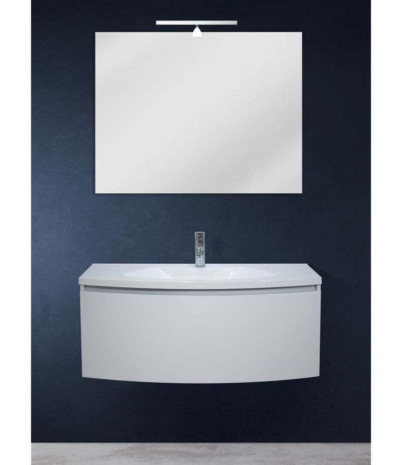 Mobile bagno sospeso 100 cm Bianco Laccato Opaco con specchio, LED e lavabo