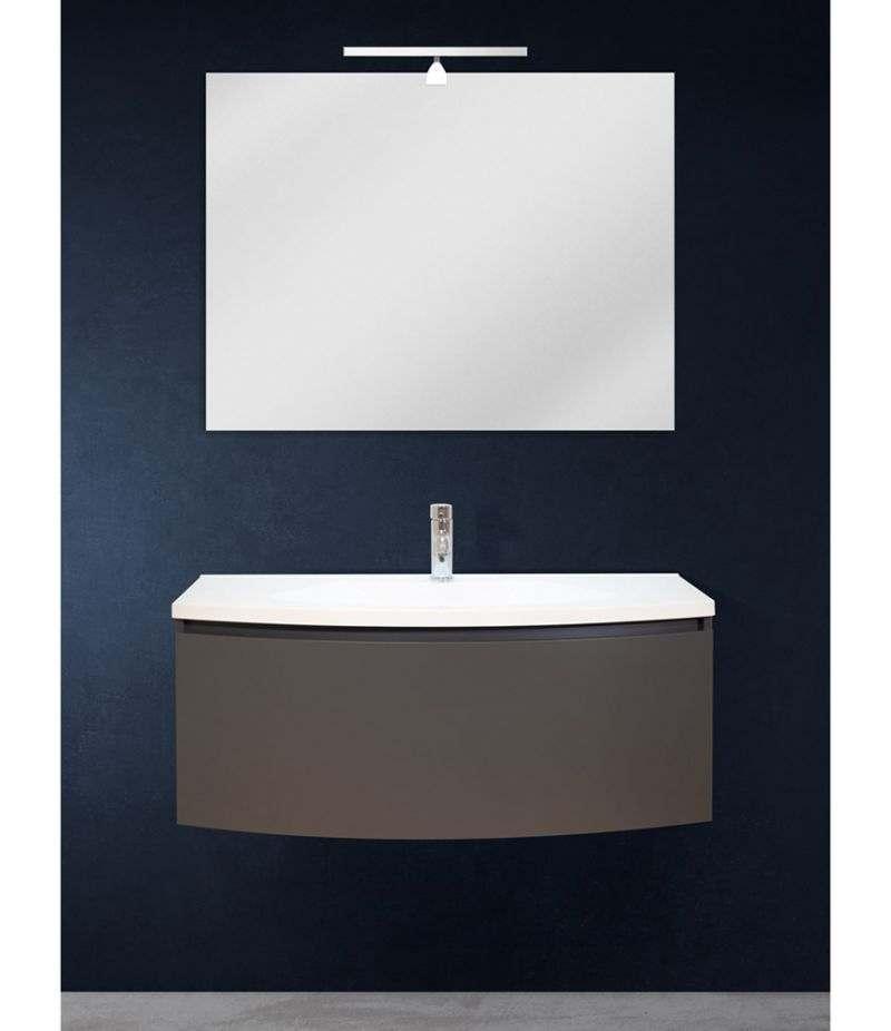 Mobile bagno sospeso 100 cm Grigio Laccato Opaco con specchio, LED e lavabo