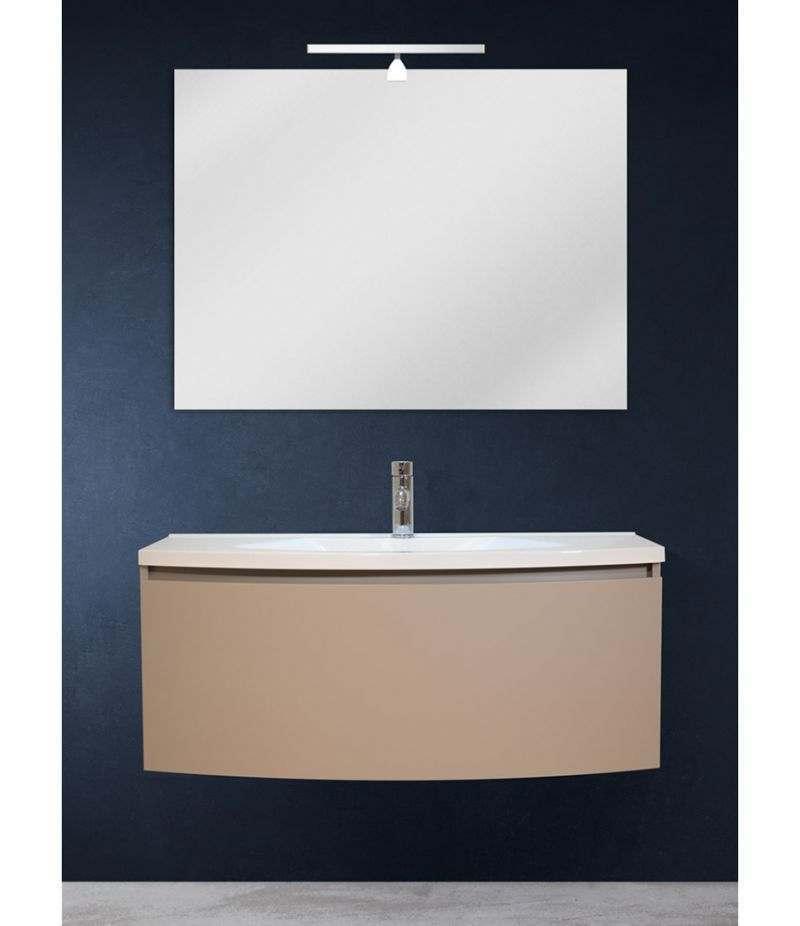 Mobile bagno sospeso 100 cm Tortora Laccato Opaco con specchio, LED e lavabo