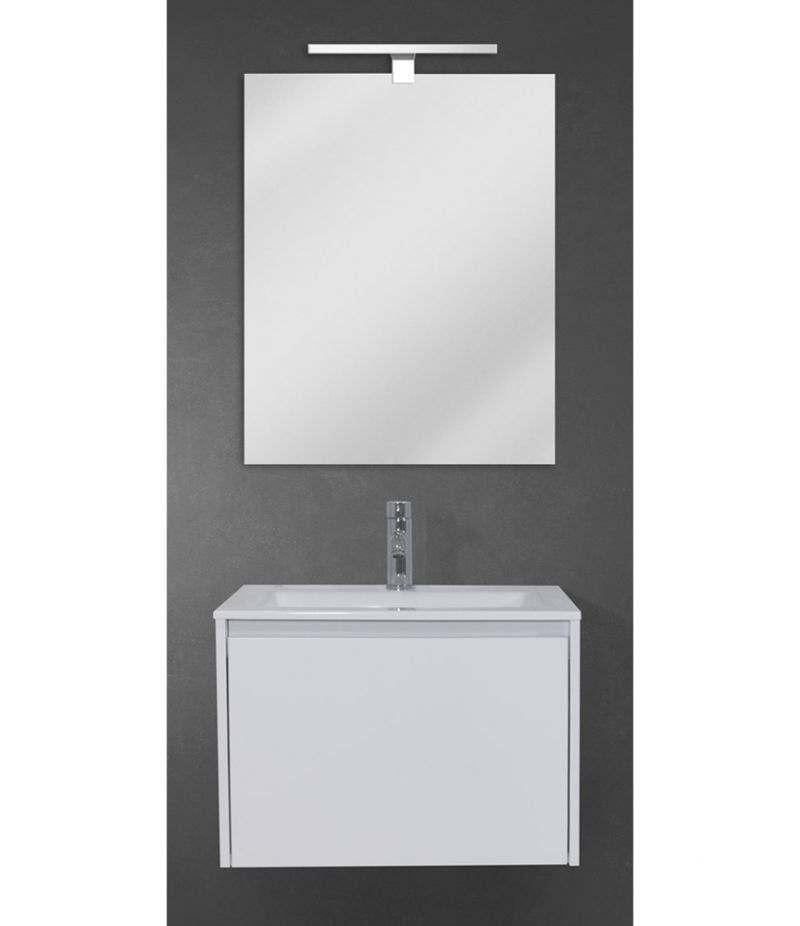 Mobile bagno sospeso 60 cm Bianco Laccato Opaco con lavabo, specchio e LED