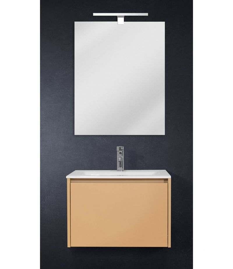 Mobile bagno sospeso 60 cm Tortora Laccato Opaco con lavabo, specchio e LED