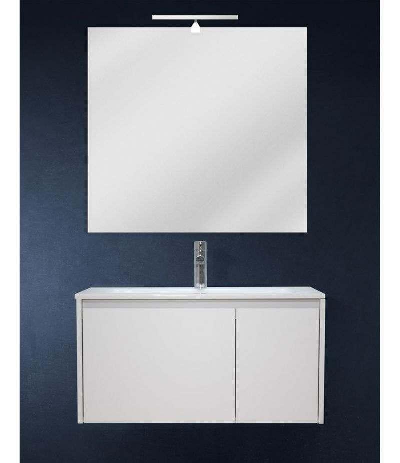 Mobile bagno sospeso 80 cm Bianco Laccato Opaco con lavabo, specchio e LED
