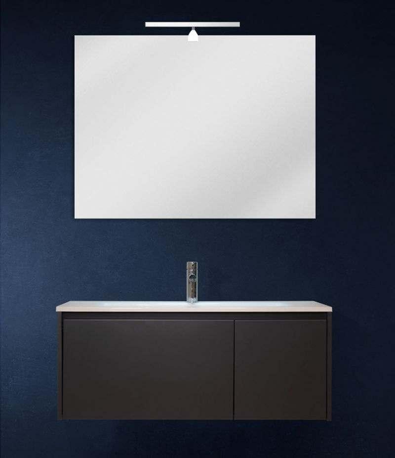 Mobile bagno sospeso 100 cm Grigio Laccato Opaco con lavabo, specchio e LED