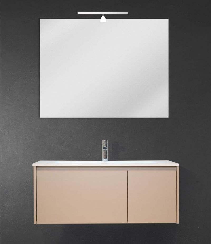Mobile bagno sospeso 100 cm Tortora Laccato Opaco con lavabo, specchio e LED
