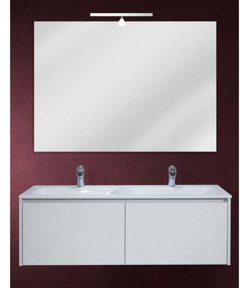 Mobile bagno sospeso 120 cm Bianco Laccato Opaco con lavabo, specchio e LED