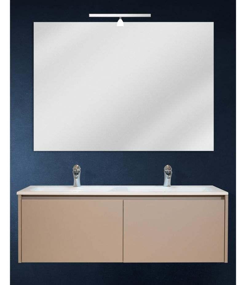 Mobile bagno sospeso 120 cm Tortora Laccato Opaco con lavabo, specchio e LED