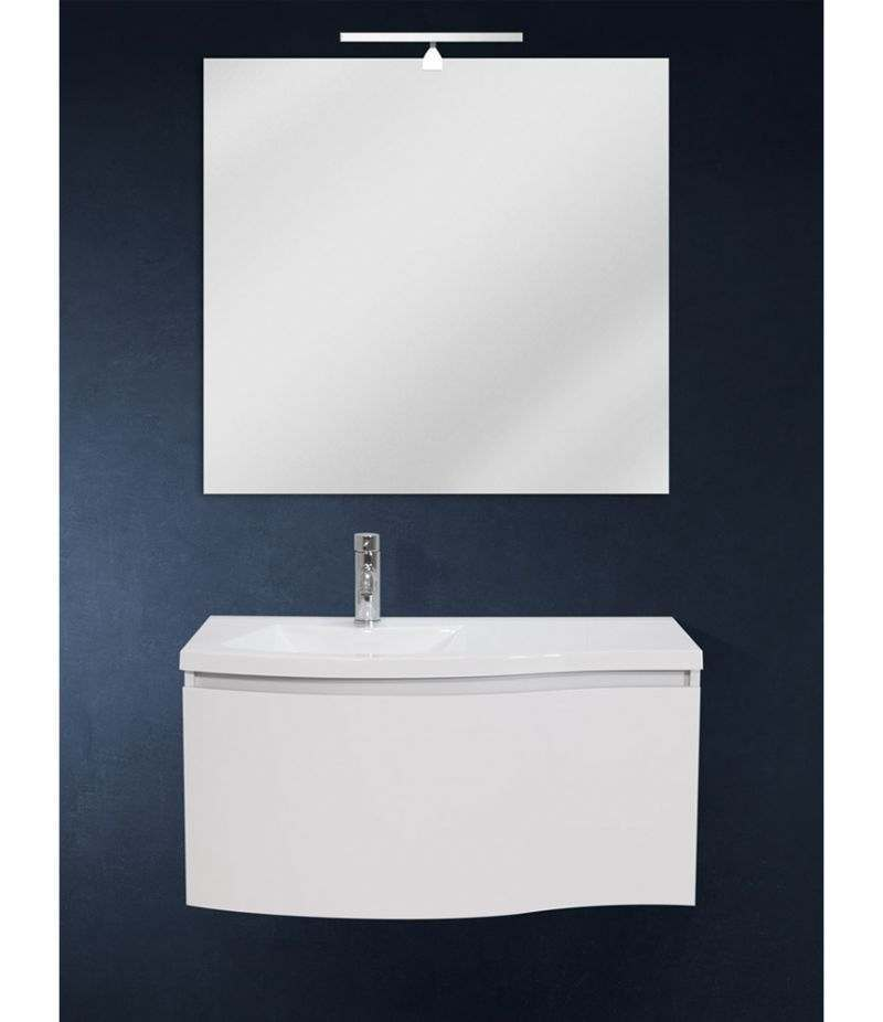 Mobile bagno sospeso 85 cm Bianco Laccato Opaco con lavabo, LED e specchio