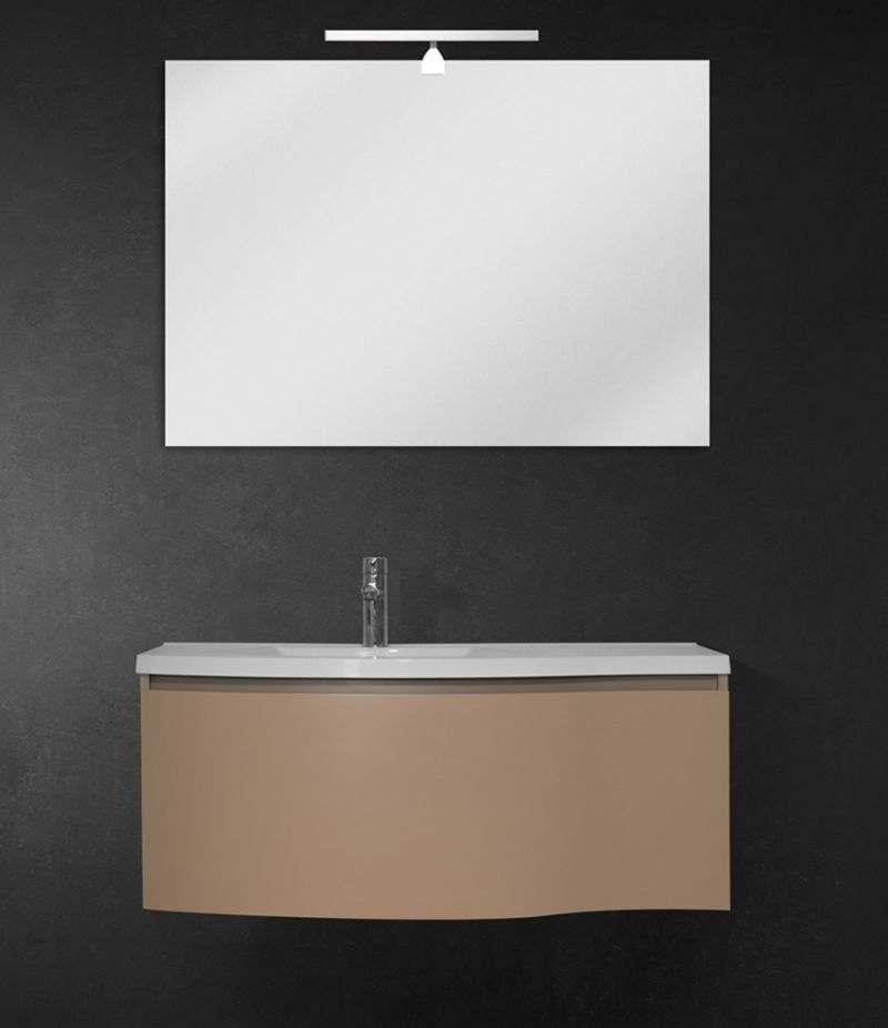 Mobile bagno sospeso 100 cm Tortora Laccato Opaco con lavabo, LED e specchio
