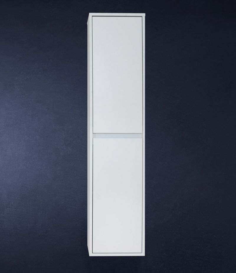 Pensile bagno colonna sospesa 34 cm Bianco Laccato Opaco con ripiani e ante