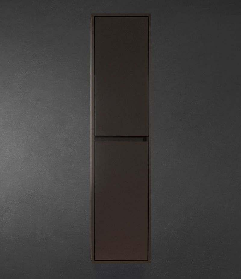 Pensile bagno colonna sospesa 34 cm Grigio Laccato Opaco con ripiani e ante