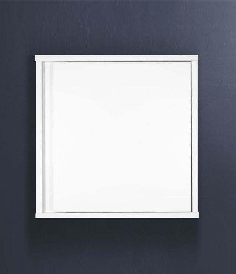 Pensile bagno cubo sospeso 45x45 cm Bianco Laccato Opaco con ripiano e anta