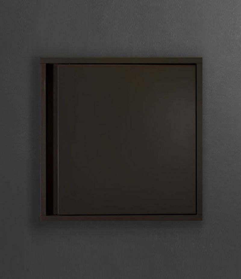 Pensile bagno cubo sospeso 45x45 cm Grigio Laccato Opaco con ripiano e anta
