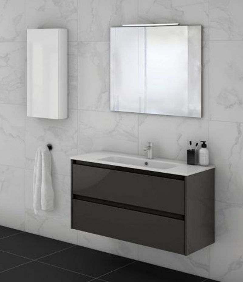 Mobile bagno 80 cm grigio antracite SANSA con specchio, LED e lavabo
