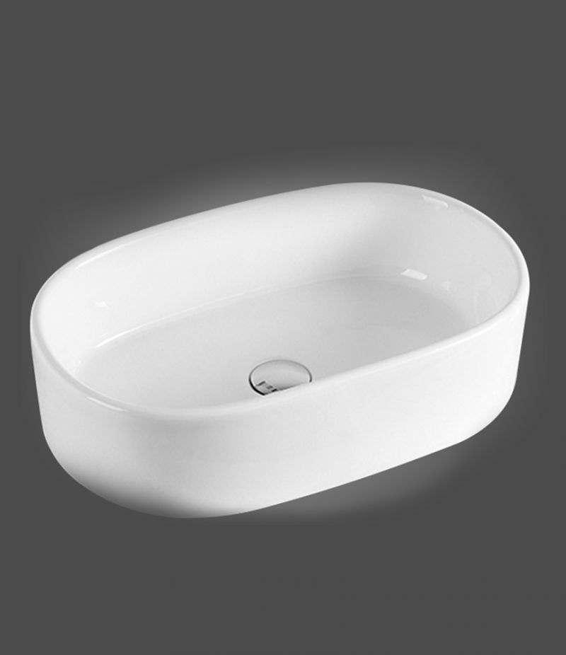 Lavabo da appoggio ovale 55,5x34,5 cm in ceramica bianco lucido