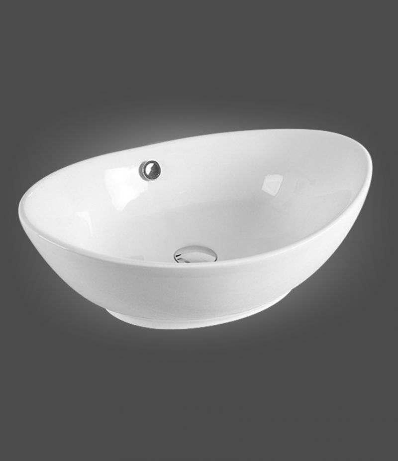 Lavabo da appoggio ovale 60x37 cm in ceramica bianco lucido
