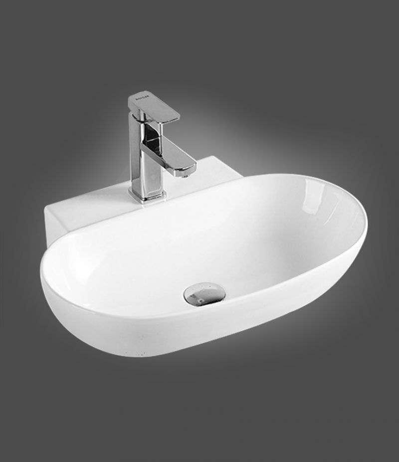 Lavabo da appoggio ovale 56x40 cm in ceramica bianco lucido