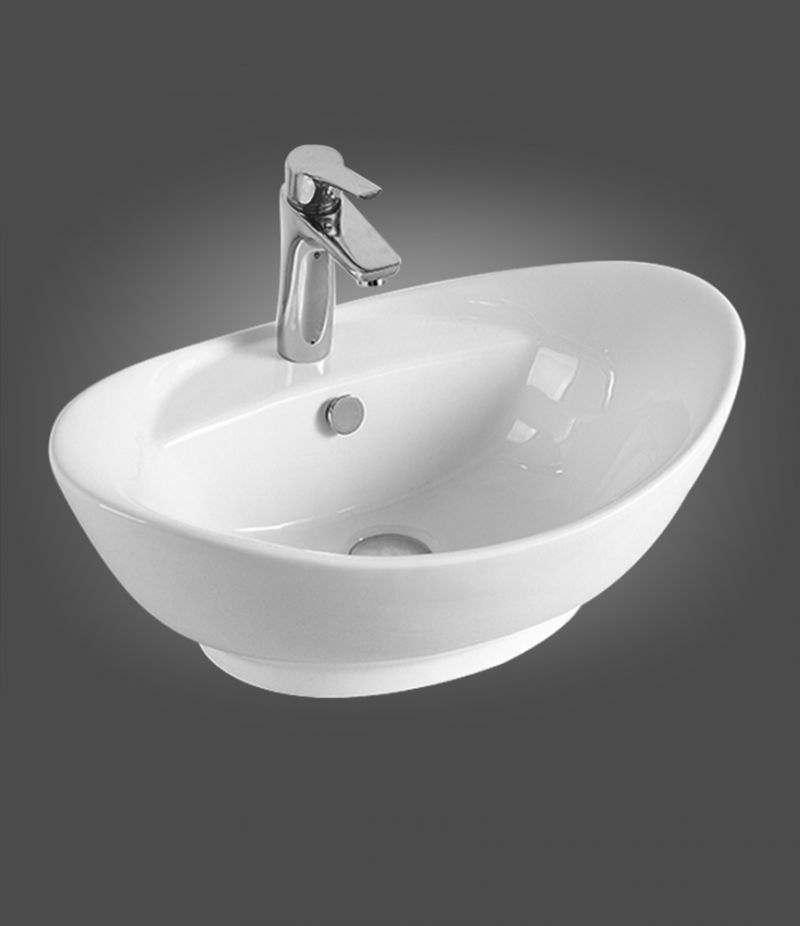 Lavabo da appoggio ovale 59x39 cm in ceramica bianco lucido