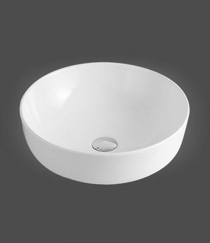 Lavabo da appoggio Rotondo 42 cm in ceramica Bianco lucido