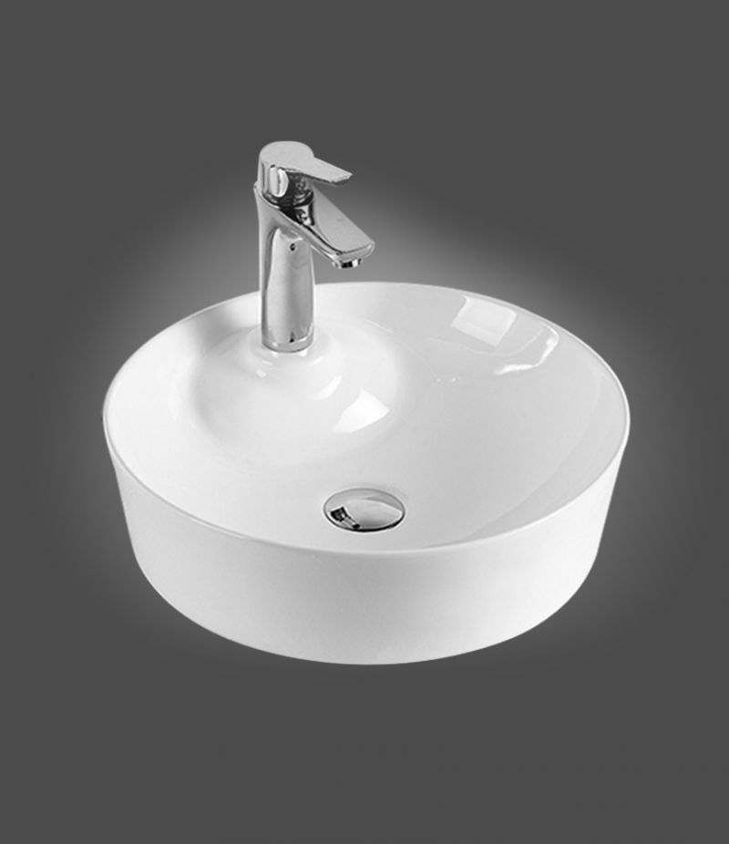 Lavabo da appoggio Rotondo 43 cm in ceramica Bianco lucido