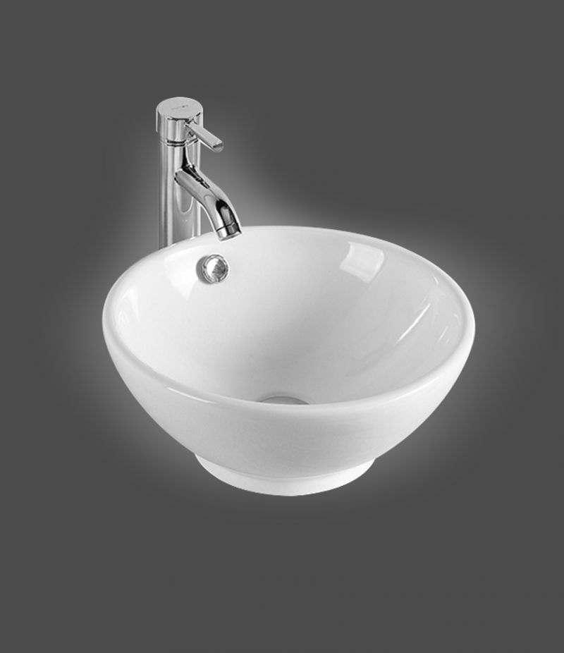 Lavabo da appoggio Svasato 40 cm in ceramica Bianco lucido