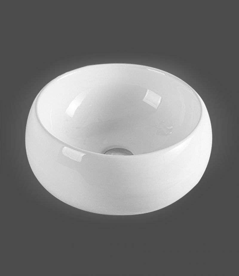 Lavabo da appoggio Bacinella 40 cm in ceramica Bianco lucido