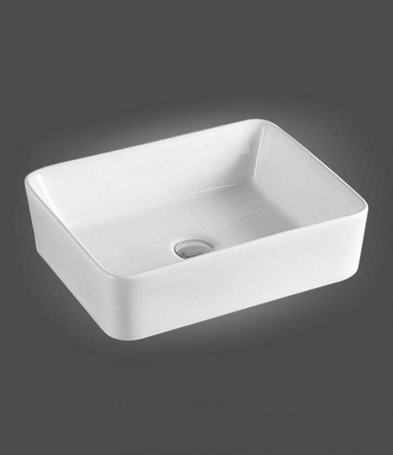 Lavabo da appoggio Rettangolare 48x37 cm in ceramica Bianco Lucido