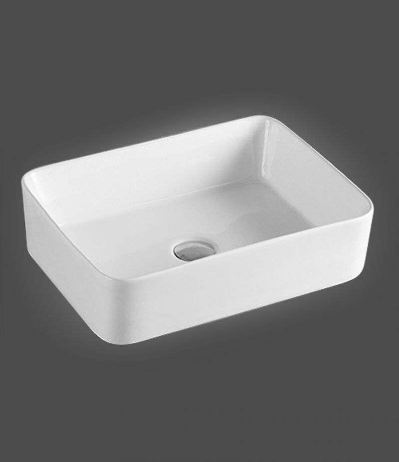 Lavabo da appoggio Rettangolare 49x38 cm in ceramica Bianco Lucido