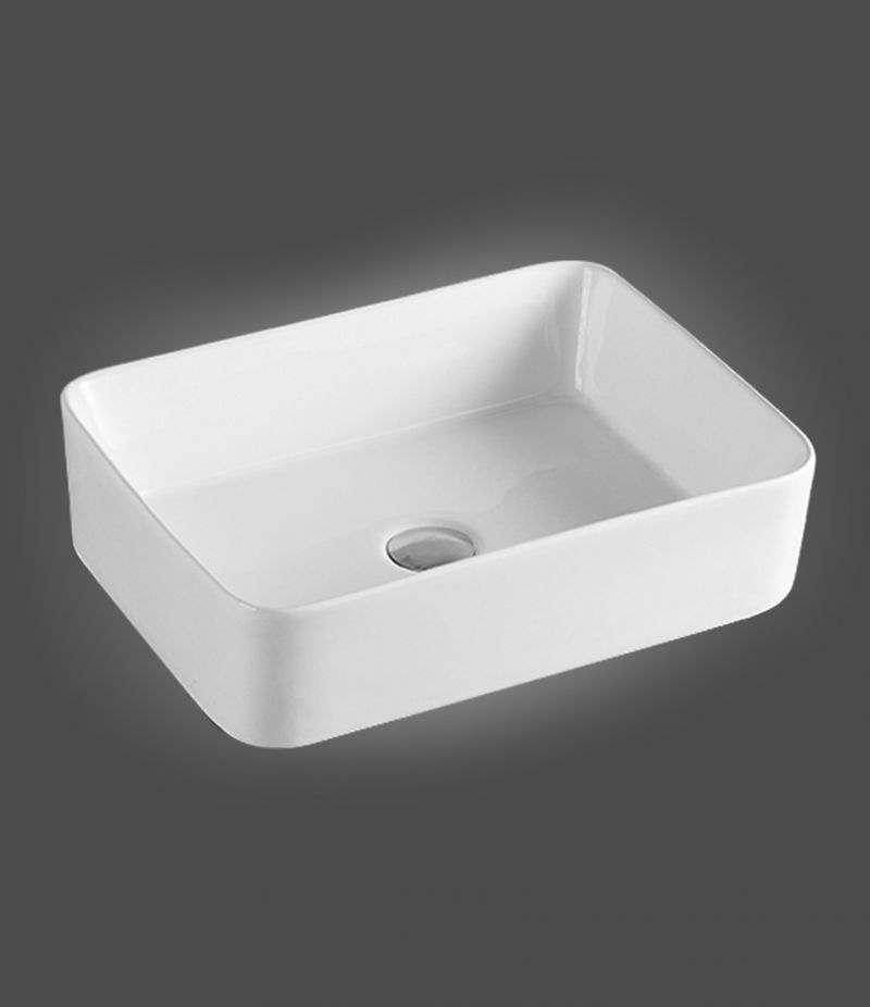 Lavabo da appoggio Rettangolare 49x38 cm in ceramica Bianco Opaco