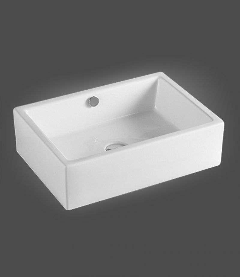 Lavabo da appoggio Rettangolare 51,5x36 cm in ceramica Bianco Lucido