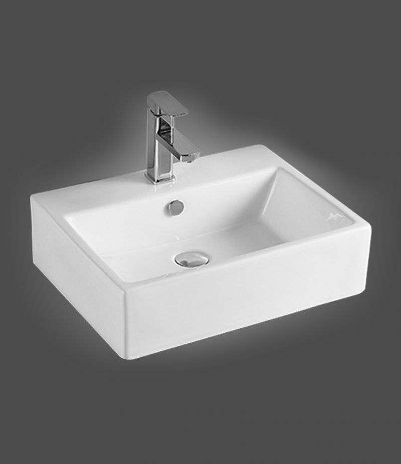 Lavabo da appoggio Rettangolare 53x41 cm in ceramica Bianco Lucido