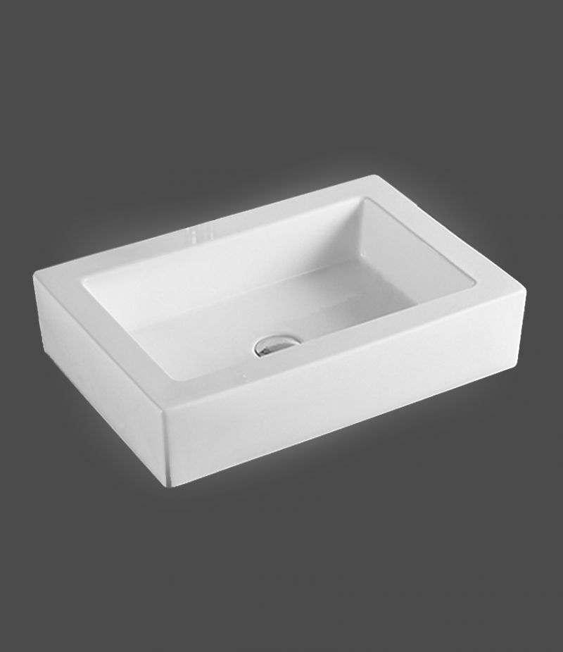 Lavabo da appoggio Rettangolare 56x40 cm in ceramica Bianco Lucido