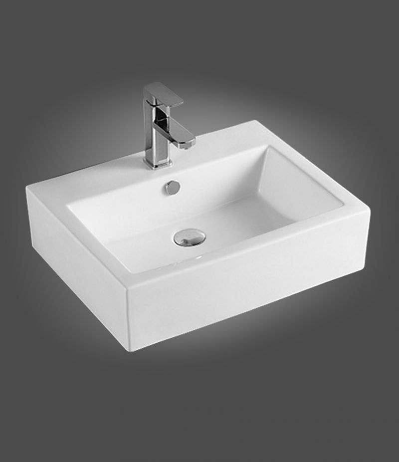 Lavabo da appoggio Rettangolare 57x45,5 cm in ceramica Bianco Lucido