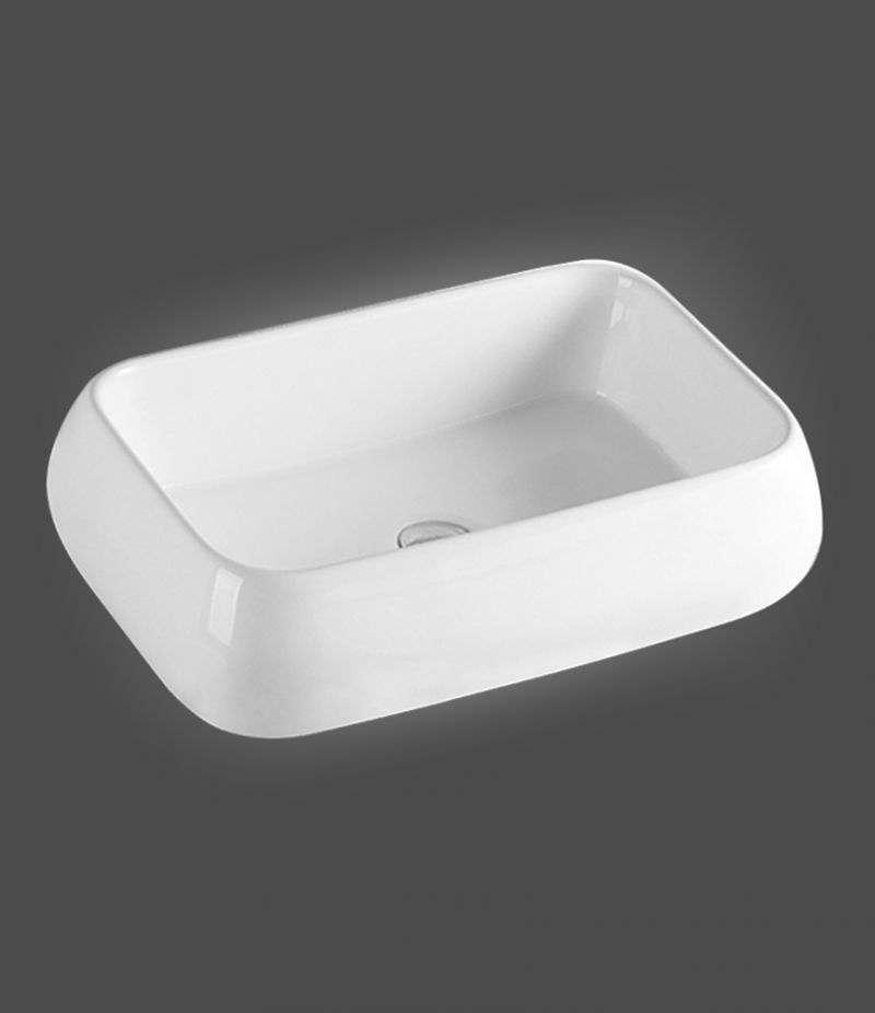 Lavabo da appoggio Rettangolare 62x42 cm in ceramica Bianco Lucido