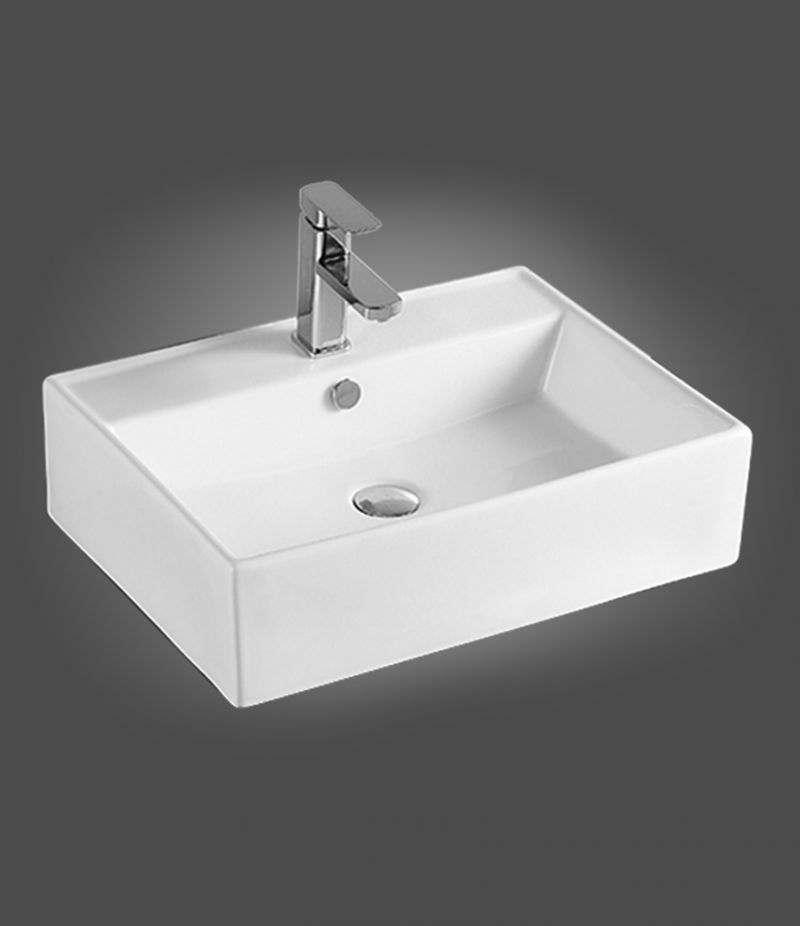 Lavabo da appoggio Rettangolare 58x45 cm in ceramica Bianco Lucido