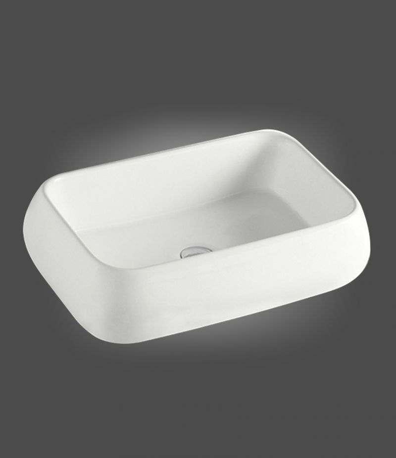 Lavabo da appoggio Rettangolare 62x42 cm in ceramica Bianco Opaco