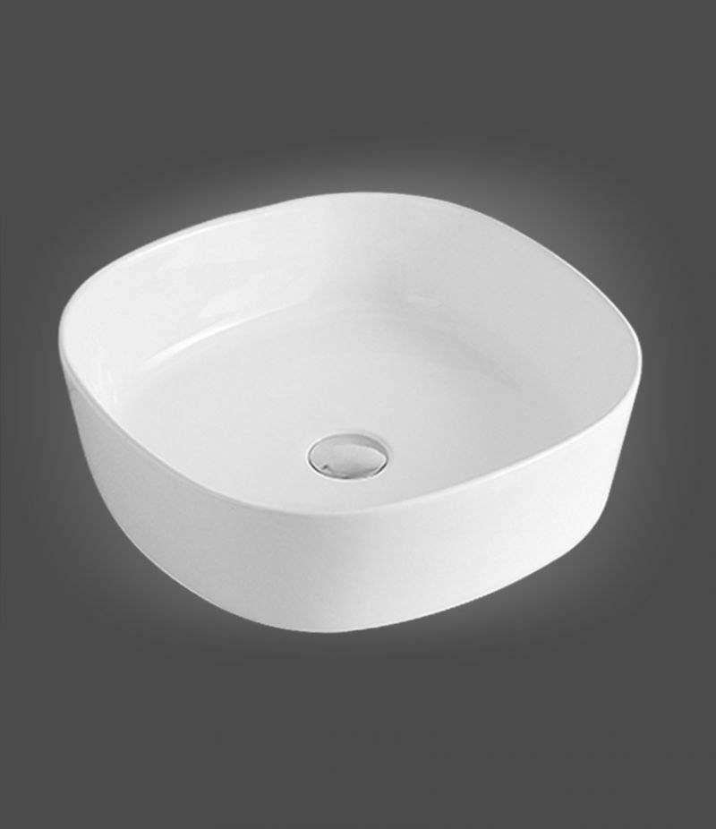 Lavabo da appoggio Quadrato 44x44 cm in ceramica Bianco Lucido
