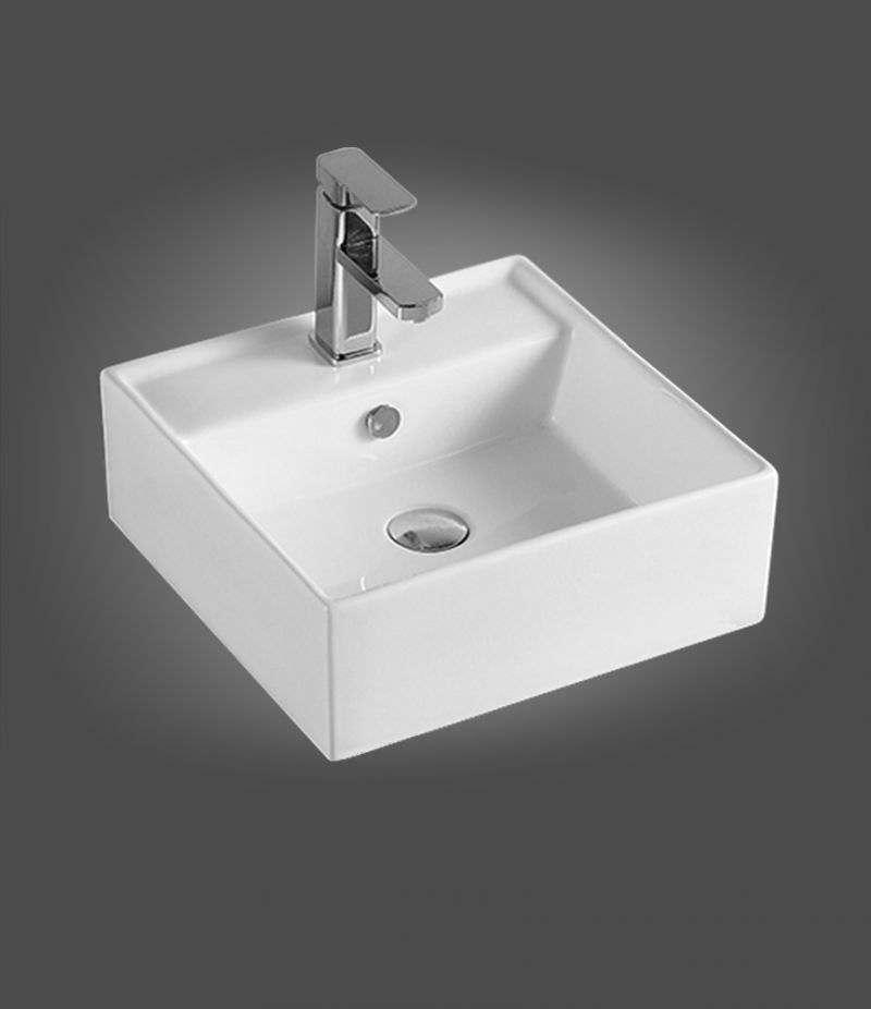 Lavabo da appoggio Quadrato 41x41 cm in ceramica Bianco Lucido