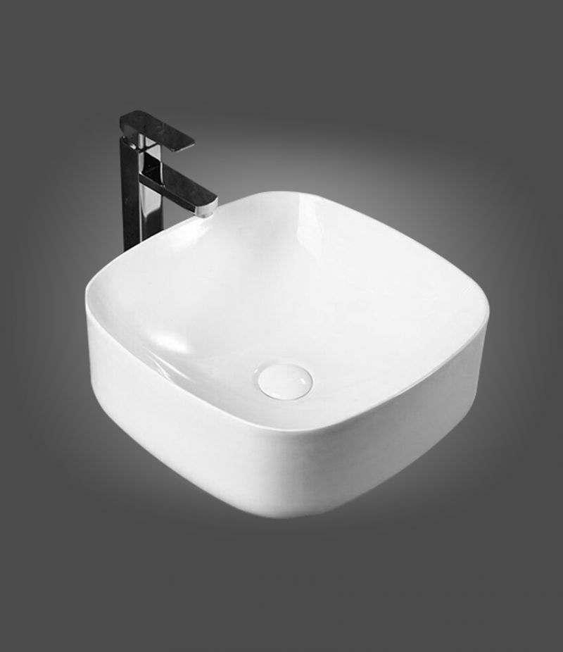 Lavabo da appoggio Quadrato 42x42 cm in ceramica Bianco Lucido